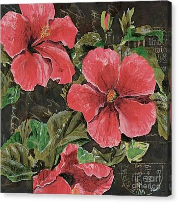 Antique Hibiscus Black 2 Canvas Print by Debbie DeWitt