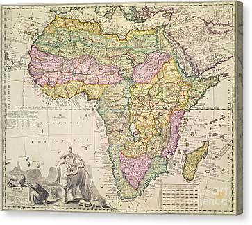 Antique Map Of Africa Canvas Print by Pieter Schenk