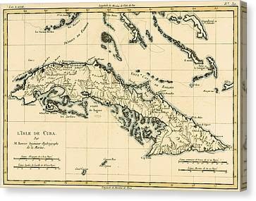 Antique Map Of Cuba Canvas Print by Guillaume Raynal