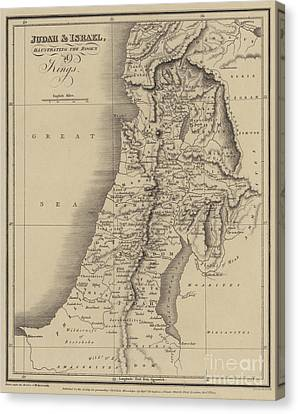 Antique Map Of Judah And Israel Canvas Print by English School