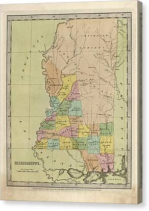 Antique Map Of Mississippi By David Burr - 1835 Canvas Print by Blue Monocle