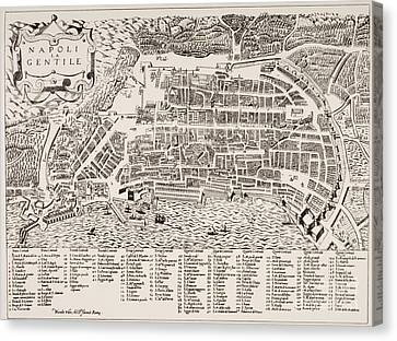 Antique Map Of Naples Canvas Print by Italian School