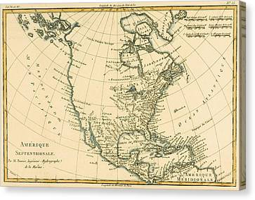 Antique Map Of North America Canvas Print by Guillaume Raynal