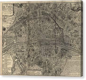 Antique Map Of Paris France By Nicolas De Fer - 1705 Canvas Print by Blue Monocle