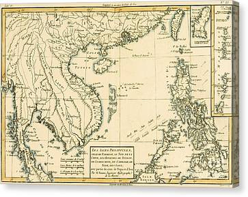 Antique Map Of South East Asia Canvas Print by Guillaume Raynal