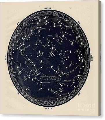 Antique Map Of The Night Sky, 19th Century Astronomy Canvas Print by Tina Lavoie