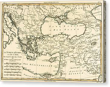 Antique Map Of Turkey Canvas Print by Guillaume Raynal
