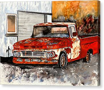 Antique Old Truck Painting Canvas Print by Derek Mccrea
