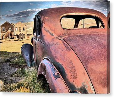 Antique Rusted Red Car Canvas Print by Alan Socolik