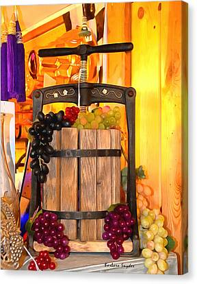 Antique Store Wine Press 2 Canvas Print by Barbara Snyder