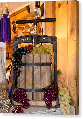 Antique Store Wine Press Canvas Print by Barbara Snyder
