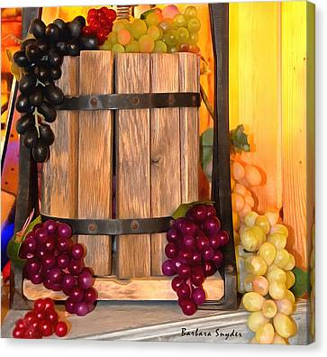 Antique Store Wine Press Small Canvas Print by Barbara Snyder