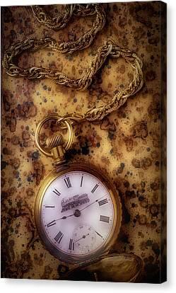 Antique Train Pocket Watch Canvas Print by Garry Gay