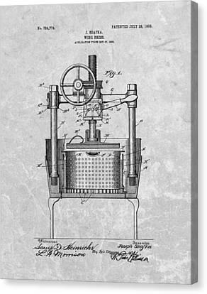 Antique Wine Press Patent Canvas Print by Dan Sproul