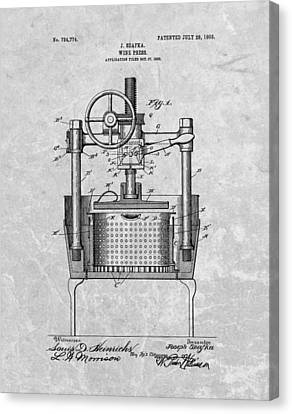 Antique Wine Press Patent Canvas Print by Dan Sproul