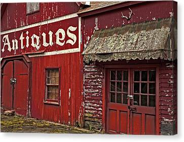 Antiques Red Barn Canvas Print by Karol Livote