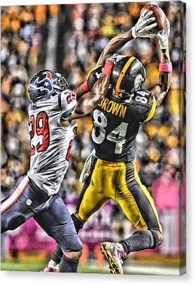 Antonio Brown Steelers Art 4 Canvas Print by Joe Hamilton