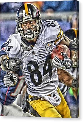 Antonio Brown Steelers Art Canvas Print by Joe Hamilton