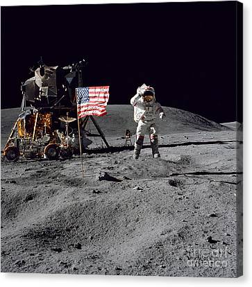 Apollo 16 Astronaut Leaps Canvas Print by Stocktrek Images