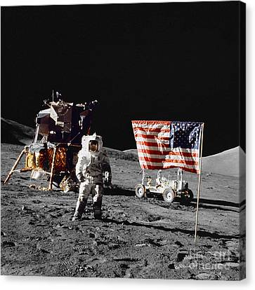 Apollo 17 Astronaut Stands Canvas Print by Stocktrek Images