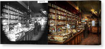 Apothecary - A Visit To The Chemist 1913 - Side By Side Canvas Print by Mike Savad