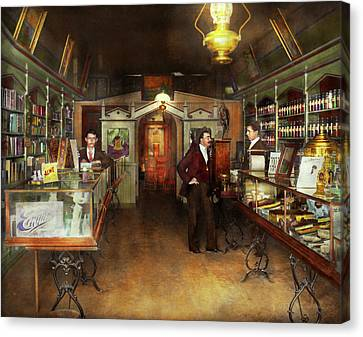 Apothecary - Spell Books And Potions 1913 Canvas Print by Mike Savad