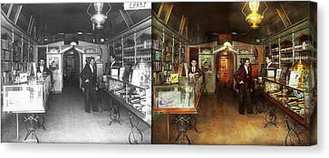 Apothecary - Spell Books And Potions 1913 - Side By Side Canvas Print by Mike Savad