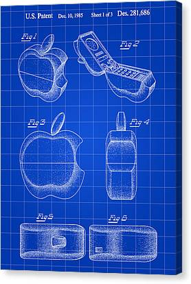 Apple Phone Patent 1985 - Blue Canvas Print by Stephen Younts