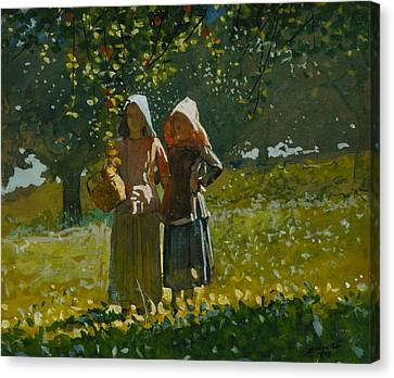 Apple Picking Canvas Print by Winslow Homer