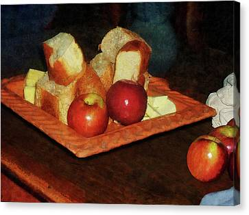 Apples And Bread Canvas Print by Susan Savad