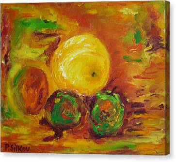 Apples And Grapefruit Canvas Print by Peter Silkov
