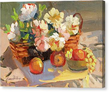 Apples And Peonies Canvas Print by Diane McClary