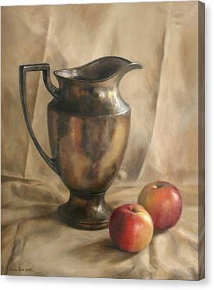 Apples And Pitcher Canvas Print by Anna Rose Bain