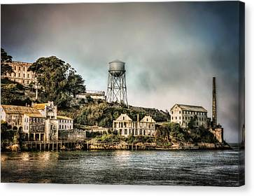 Approaching Alcatraz Island And Water Tower  Canvas Print by Jennifer Rondinelli Reilly