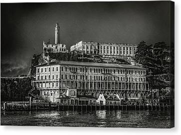 Approaching Alcatraz Island In Black And White Canvas Print by Jennifer Rondinelli Reilly