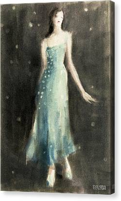 Aqua Blue Evening Dress Canvas Print by Beverly Brown Prints