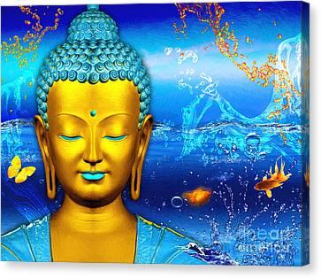 Aqua Buddha Canvas Print by Khalil Houri