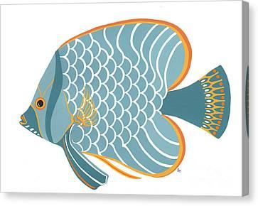 Aqua Mid Century Fish Canvas Print by Stephanie Troxell