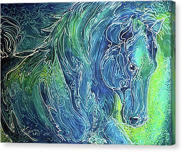 Aqua Mist Equine Abstract Canvas Print by Marcia Baldwin