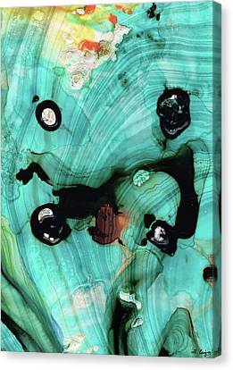 Aqua Teal Art - Volley - Sharon Cummings Canvas Print by Sharon Cummings