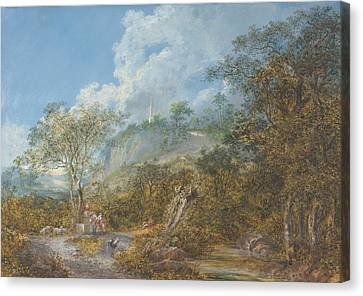 Arcadian Landscape With An Obelisk Canvas Print by Salomon Gessner