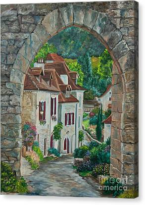 Arch Of Saint-cirq-lapopie Canvas Print by Charlotte Blanchard