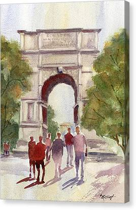 Arch Of Titus Canvas Print by Marsha Elliott