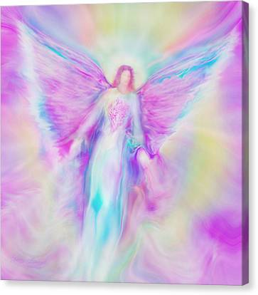 Archangel Raphael In Flight Canvas Print by Glenyss Bourne