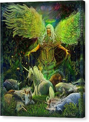 Archangel Raphael Protector Of Unicorns Canvas Print by Steve Roberts