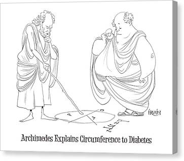 Archimedes Explains Circumference To Diabetes Canvas Print by Trevor Irvin