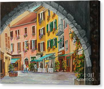 Archway To Annecy's Side Streets Canvas Print by Charlotte Blanchard
