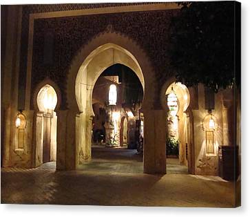 Archways At Night Canvas Print by Kim  Chernecky