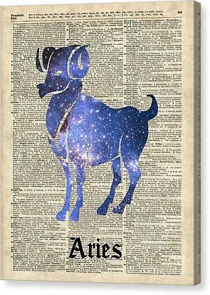 Aries Ram Zodiac Sign Canvas Print by Jacob Kuch
