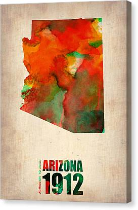 Arizona Watercolor Map Canvas Print by Naxart Studio